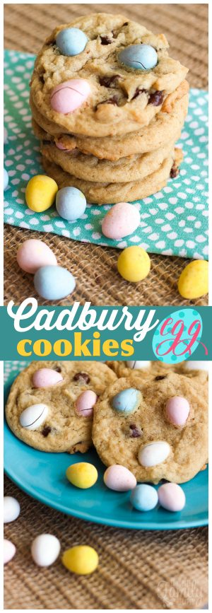 These Easter Cadbury Egg Cookies take chocolate chip cookies to a whole new level! You can't go wrong adding Cadbury eggs to anything in my opinion. :)
