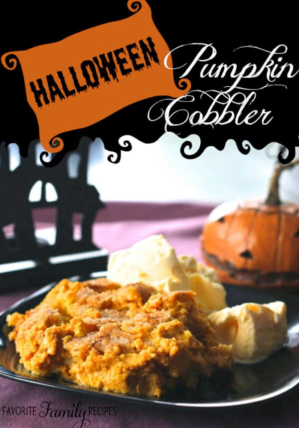 This Pumpkin Cobbler has become our traditional Halloween dessert. It's kind of like an upside down pumpkin pie, but I like it even better. #pumpkin #halloween