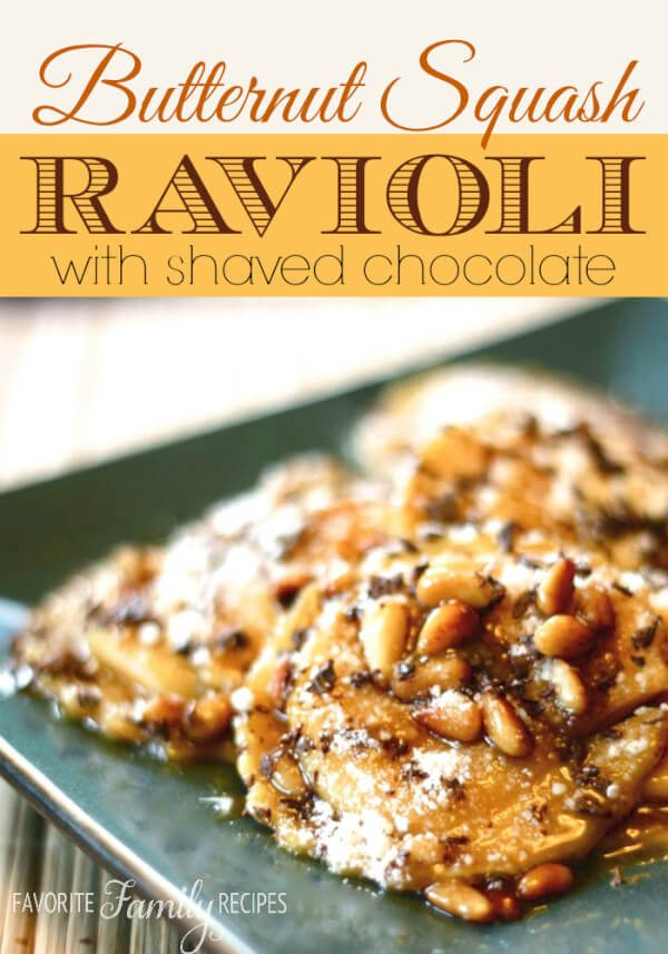 Butternut Squash Ravioli with Brown Sugar Glaze and Shaved Chocolate