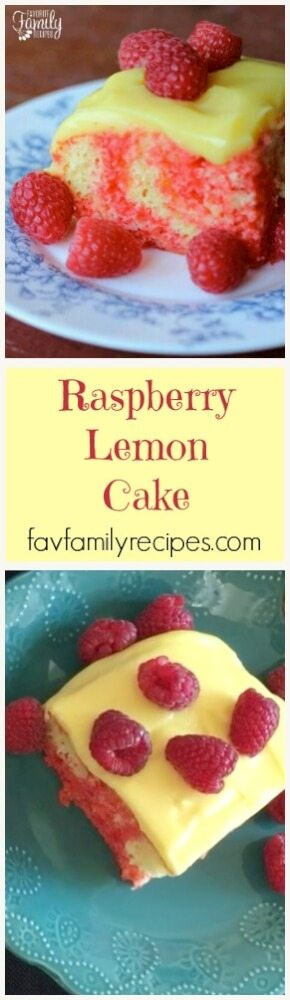 Because it is kept refrigerated, this Raspberry Lemon Cake is cold and refreshing  The cake is so moist and the pudding makes a light and creamy frosting. #raspberrylemoncake #cake