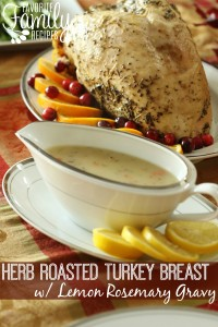 Herb Roasted Turkey Breast with Rosemary Gravy = 117 Calories
