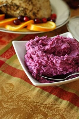 Purple Sweet Potatoes in a white serving dish
