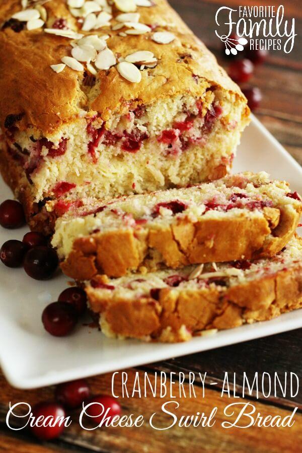 Cranberry Almond Cream Cheese Swirl Bread