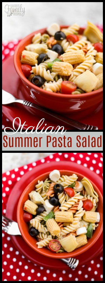 This Italian Summer Pasta Salad is bursting with color and flavor. The tri-color noodles, mozzarella cheese, and yummy veggies are tossed in tangy Italian dressing.  #PastaSalad #ItalianPastaSalad #ItalianSalad #RotiniNoodles #SummerPastaSalad #SaladRecipe #PastaRecipe #ItalianRecipe #PastaSaladRecipe