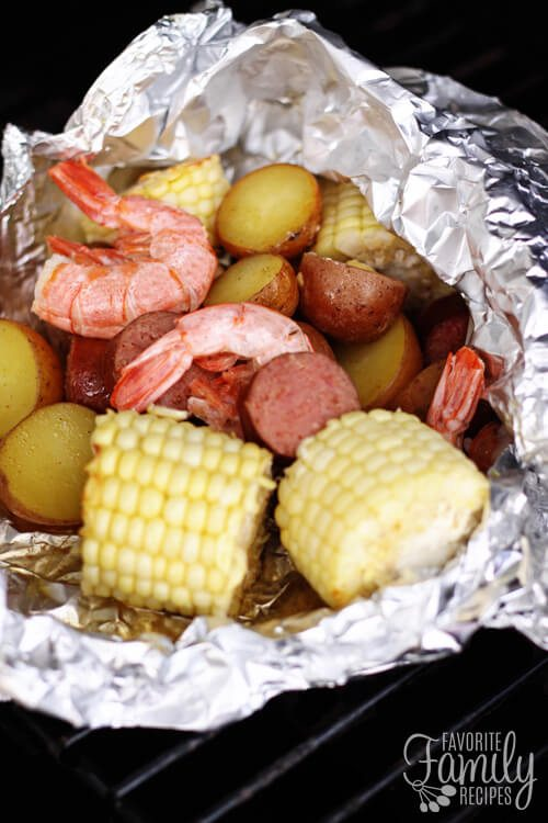 Cajun Shrimp Foil Packets opened on the grill