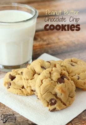 Peanut Butter Chocolate Chip Cookies with a glass of milk