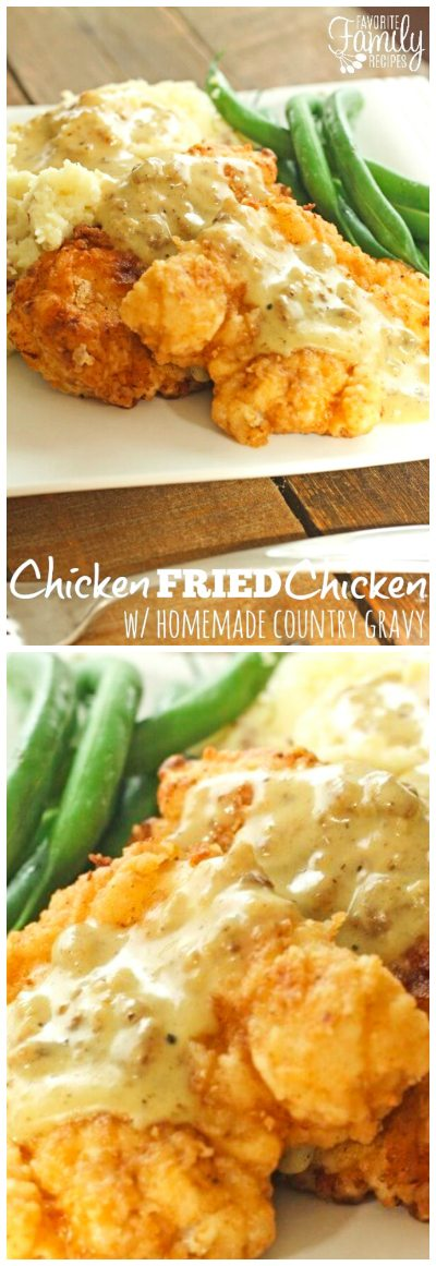 This Chicken Fried Chicken with Homemade Country Gravy is a true family favorite that always has everyone begging for more.  The gravy is to die for! #chickenfriedchicken #friedchicken