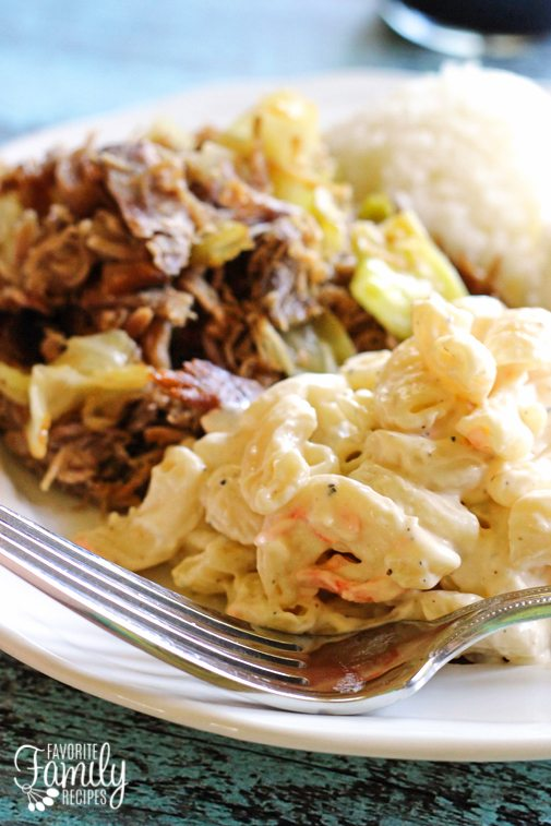 Hawaiian Mac salad on a plate with Kalua Pork and Rice.