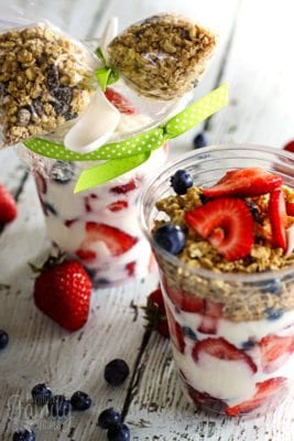Breakfast parfaits with layers of yogurt, fresh fruit, and granola