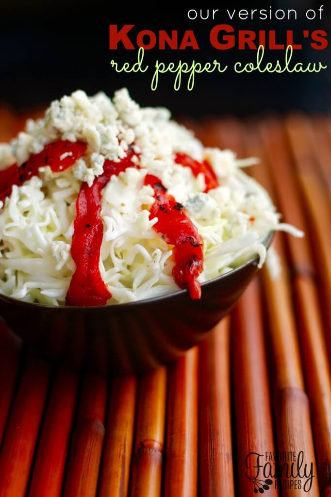 Red Pepper Coleslaw in a black bowl.