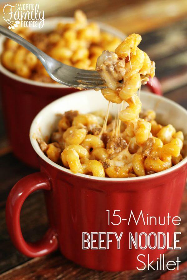 15 Minute Beefy Noodle Skillet