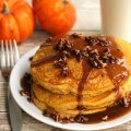Pumpkin Pancakes with Caramel Maple Syrup