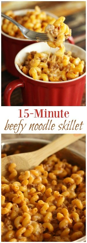 This 15 Minute Beefy Noodle Skillet recipe is perfect for those busy nights when you need dinner quick.  Ground beef and noodles with a creamy, cheesy sauce.