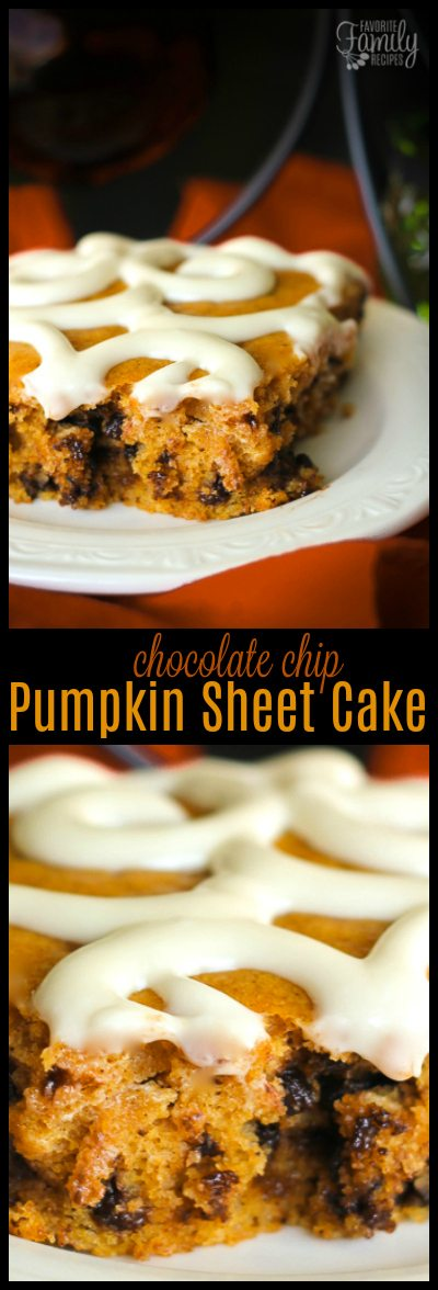 This Chocolate Chip Pumpkin Sheet Cake is the perfect recipe holiday parties! Not only does it taste amazing, but it feeds a crowd and looks pretty too. #pumpkinsheetcake #chocolatechippumpkin