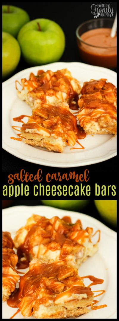 These Salted Caramel Apple Cheesecake Bars are HEAVENLY. They have a sweet crust, a cheesecake filling, a cinnamon apple topping, and salted caramel on top. #saltedcaramel #applecheesecake #cookiebars