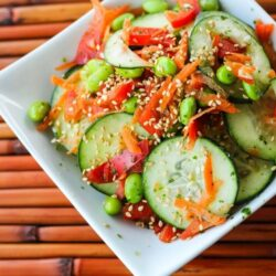Asian Cucumber Salad sprinkled with sesame seeds