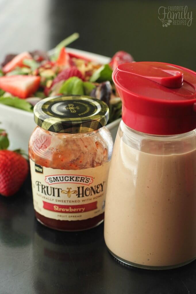 Creamy Strawberry Balsamic Dressing with the smuckers fruit honey jar.