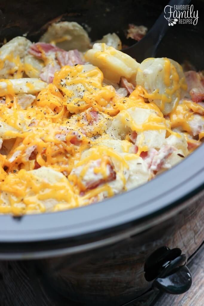 Slow Cooker Au Gratin Potatoes and Ham FFR