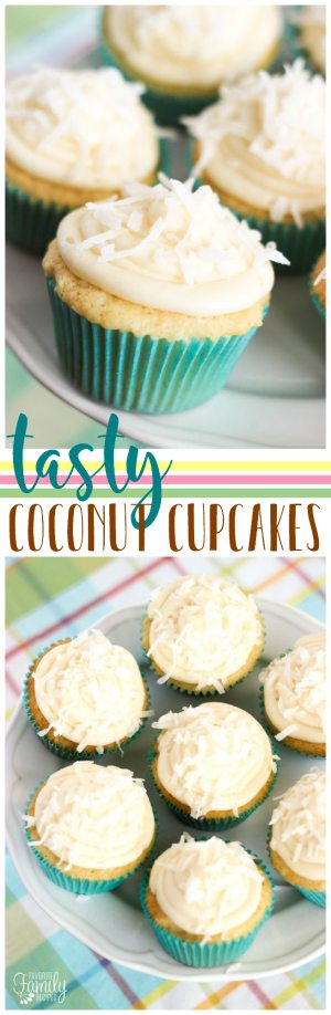 Our Tasty Coconut Cupcakes are light and fluffy and have the most amazing coconut frosting with a sprinkling of coconut flakes.