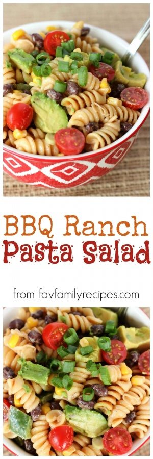 BBQ Ranch Pasta Salad is a delicious side dish for BBQ grilling. The dressing is rich and tangy but doesn't overpower the fresh taste of the vegetables.