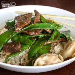 Beef and Snow Peas Wide