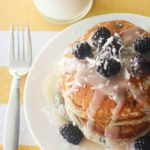 Gluten Free Blackberry Pancakes with Coconut Yogurt Syrup