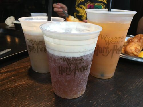 Butterbeer, pumpkin juice, and frozen butterbeer at Wizarding World of Harry Potter Food