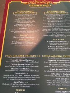 Paradise Garden Grill Gluten Free Menu