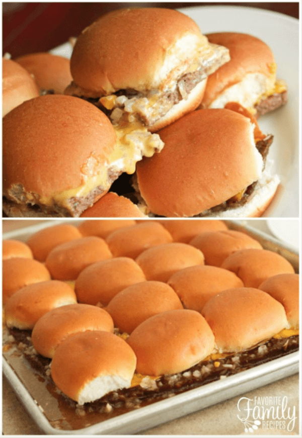 White Castle Sliders on a plate and on a baking sheet