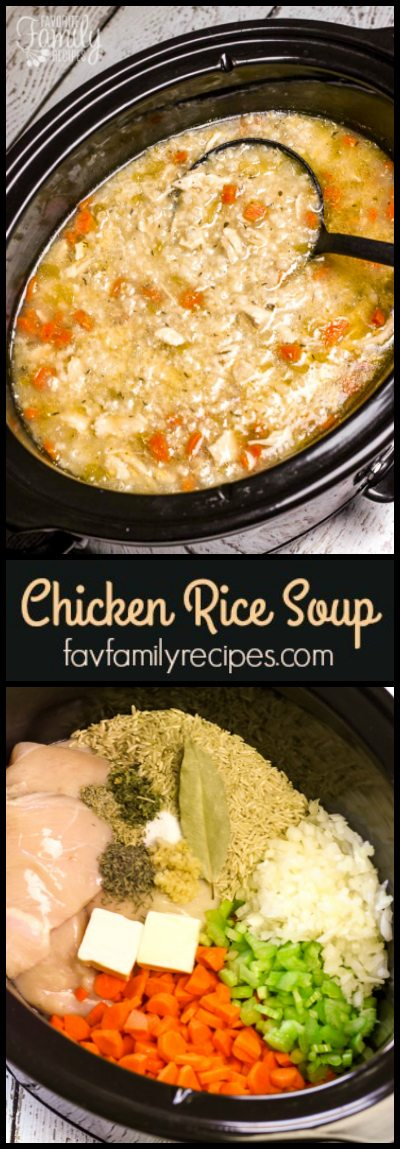 Slow Cooker Chicken and Rice Soup is an easy chicken soup recipe. All of the raw ingredients go in the slow cooker and a delicious soup awaits for dinner.