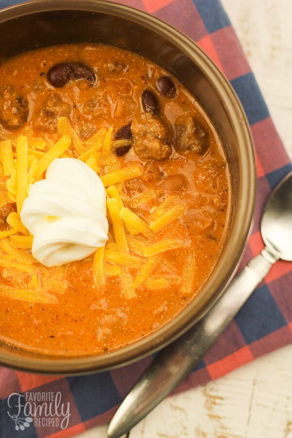 Above view of Creamy Italian Sausage Chili