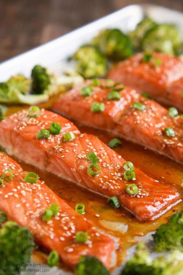 One Pan Sesame Ginger Salmon and Broccoli