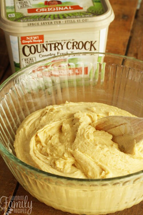 Country Crock Base Cookie Recipe in a glass bowl.