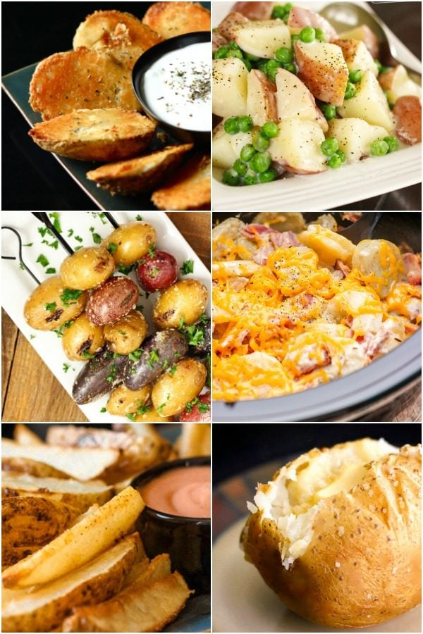 A collage of potato recipes including baked potatoes, au gratin potatoes, and grilled potatoes