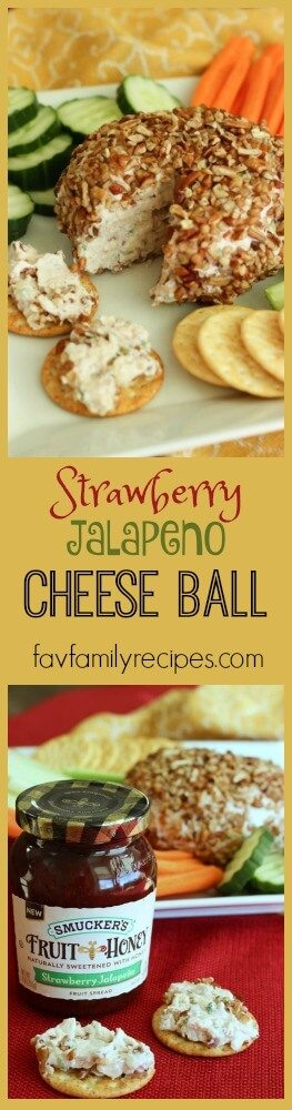 This Strawberry Jalapeño Cheese Ball is a festive holiday appetizer.  The sweetness of the strawberries and spice of the jalapeño give it the perfect blend of sweet and heat.