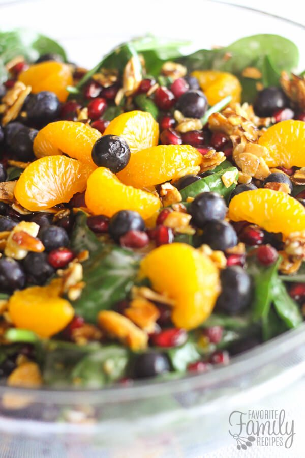 Mandarin Spinach Salad with Candied Pecans