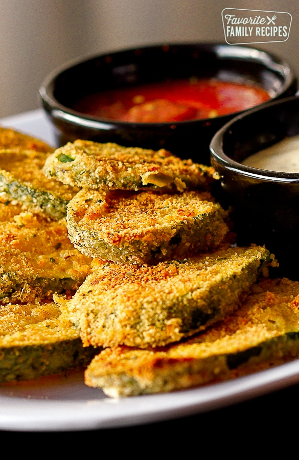 Baked Not Fried Zucchini with Ranch and Marinara Dips