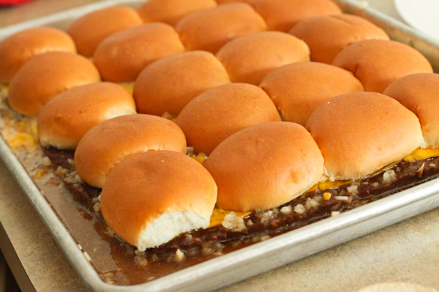 Cookie Sheet full of White Castle Sliders
