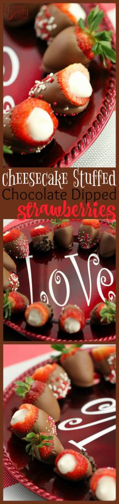 Cheesecake Stuffed Chocolate Dipped Strawberries are the perfect treat to give to someone you love.  Great for making someone feel special.