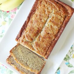 Banana bread on a large plate