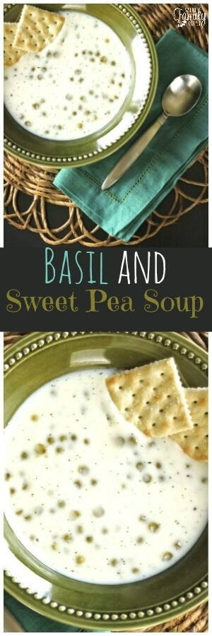 This Basil and Sweet Pea Soup was a personal favorite of mine growing up.  It's simple, sweet and savory, and delicious.