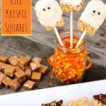 Caramel Rice Krispies Squares Ghosts
