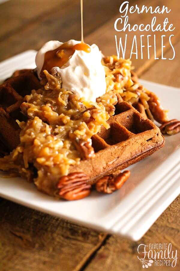 German Chocolate Waffles with Praline Pecan Syrup ...