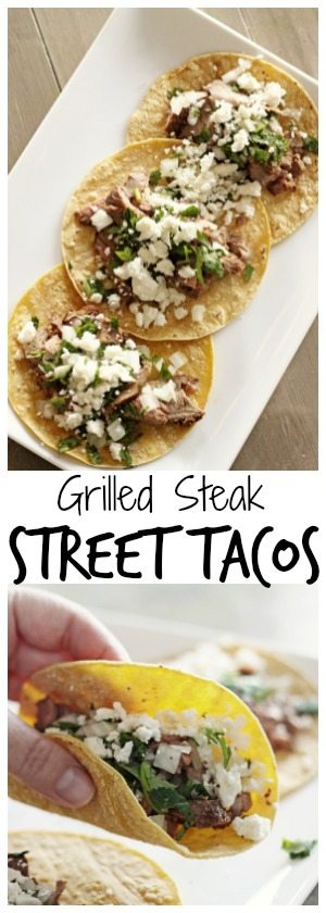 Steak street tacos are little bites of heaven. The ingredients are few and simple yet they are bursting with delicious flavor!