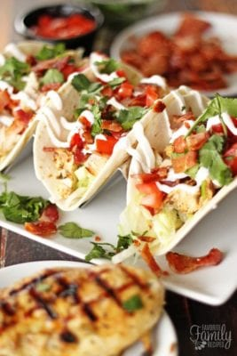 Grilled Chicken BLT Tacos are a delicious fusion of two of our favorite Summer dishes. The bacon flavor in each bite takes chicken tacos to a new level.