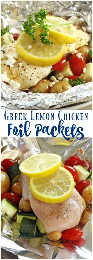 These Greek Lemon Chicken Foil Packets are an easy summertime meal with virtually no clean up. Perfect for camping or just an easy dinner at home!