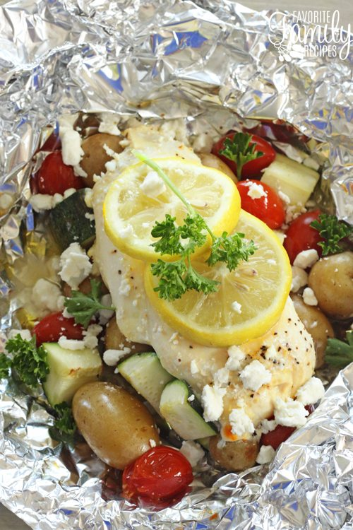 Overhead shot of Greek Lemon Chicken Foil Packets after they have been cooked.
