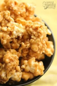 Microwave popcorn with a peanut butter coating