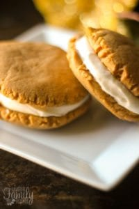 Maple Cream Cheese Frosting sandwich cookies with maple cream cheese frosting