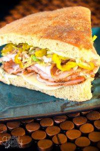 Turkey Over Italy Sandwich on Foccacia Bread